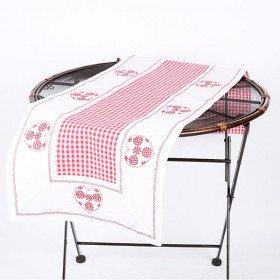Tischläufer Alsace Reversible Herz Vichy 45 cm x 170 cm