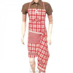 Verstellbare Küchenschürze Rot mit Spitzen, Vichy-Quadrat mit Taschen