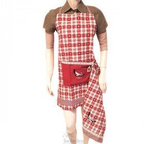 Verstellbare Küchenschürze Rot Bestickt Storch, Vichy-Quadrat, Feine Spitzen mit Taschen