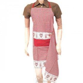 Verstellbare Küchenschürze Vichy-Quadrat-Rot Herz-und Elsässische Dekoration mit Geschirr