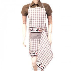 Küchenschürze einstellbar Quadrat-Vichy-Grau dekor Schwänze Elsass mit Tuch