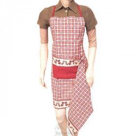 Küchenschürze Rot dimmbar Quadratisch Vichy-dekor-Herzen mit Tuch