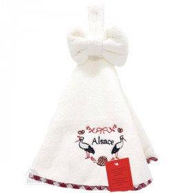 Handtücher-Küche-rund-Weiß bestickt Störche im Elsass 50 cm