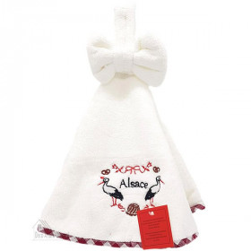 White Round Kitchen Towels with Cigognes d'Alsace embroidery 50 cm