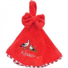 Essuie-Mains de Cuisine rond Rouge brodé Cigognes d'Alsace 50 cm