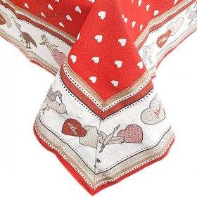 Tischdecke quadratisch 90 x 90 cm rot, motiv Herzen-dekor Störche