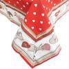 Nappe carrée 90 cm x 90 cm rouge motif Coeurs décor Cigognes