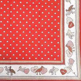 Tischdecke quadratisch 90 x 90 cm rot, motiv Herzen-dekor Störche in La Boite