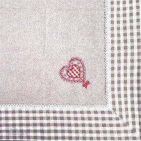 Tischdecke quadratisch 90 x 90 cm grau motiv Herzen und Störche