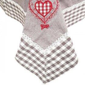 Tischdecke quadratisch 90 x 90 cm grau mit Spitzen, Gestickte Herzen