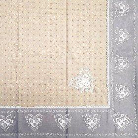 Nappe carrée 90 cm x 90 cm grise avec Dentelles Brodée et motifs Coeurs La Boite aux