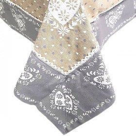 Nappe carrée 90 cm x 90 cm grise avec Dentelles Brodée et motifs Coeurs
