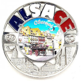 Decorative round metal magnet the Market Square of the City of Obernai