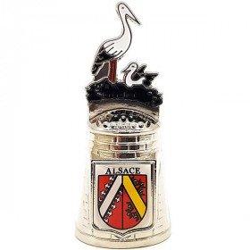 Dé à Coudre de Collection en Métal avec Nid de Cigogne Alsace La Boite aux Trésors à