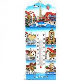 Thermomètre mural Souvenir d'Alsace en résine