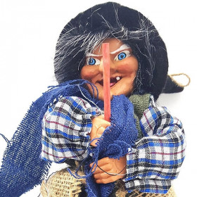 Witch of Alsace to hang with Blue Jute, Scarf and Holly 32 cm La Boite aux Trésors to