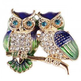 Golden Double Owl Fancy Brooch set with Rhinestones