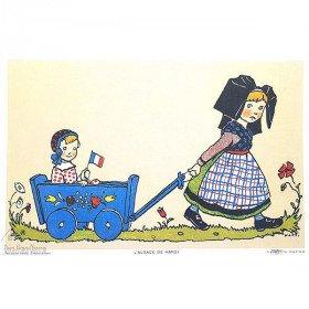 Poster Hansi Fillette tirant un chariot avec un bébé 43cm x 28cm