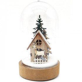 Weihnachtsszene unter Glocke Mit Haus beleuchtet Led