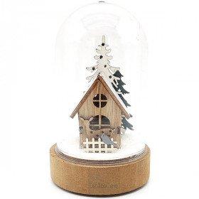 Scène de Noël sous Cloche avec Maison illuminé Led