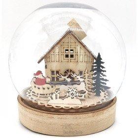 Weihnachtskugel unter Glocke mit Weihnachts-Szene beleuchtet Led
