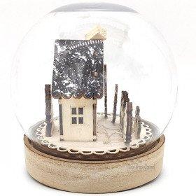 Weihnachtskugel unter Glocke mit Weihnachts-Szene beleuchtet Led in La Boite