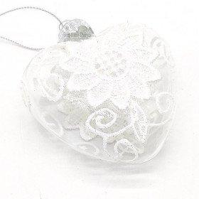 Aufhängung Herz Aus Glas mit weißen Spitzen verziert