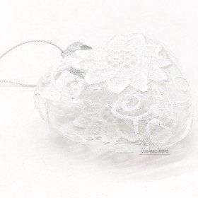 Aufhängung Herz Aus Glas mit weißen Spitzen verziert in La Boite aux Trésors in