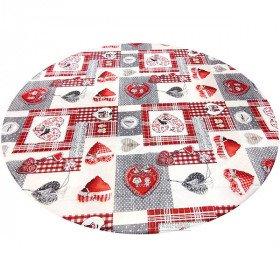 Runde Tischdecke 160 cm Patchwork Herzen und Störche aus Elsass in La Boite aux