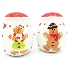 Salt and Pepper Ceramic Service Mannele Decor in Alsatian Gingerbread La Boite aux