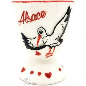 Coquetier en Céramique décor Cigogne d'Alsace La Boite aux Trésors à Obernai