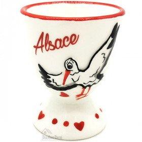 Keramik Eierbecher Dekor Storch aus Elsass
