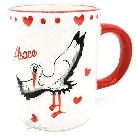 Keramik Becher Dekor Storch aus Elsass