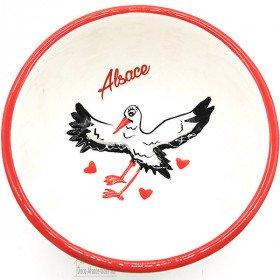Keramik Abblendkappe Dekor Storch aus Elsass in La Boite aux Trésors in Obernai