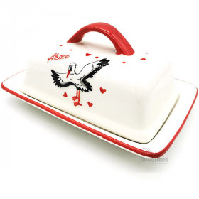 Keramik Butterdose Dekor Storch aus Elsass