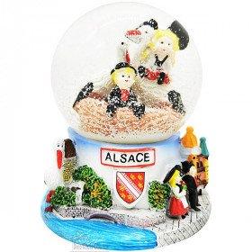Grande Boule de Neige décor Cigognes d'Alsace