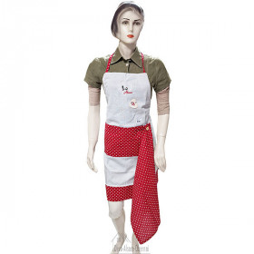 Tablier de Cuisine réglable Gris Coeurs rouges Brodé Cigogne avec Torchon