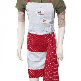 Tablier de Cuisine réglable Gris Coeurs rouges Brodé Cigogne avec Torchon La Boite aux