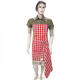 Adjustable Kitchen Apron Red Square Vichy Hansi Decor with Tea Towel