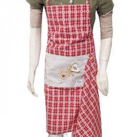 Tablier de Cuisine réglable Rouge Carré Vichy décor Pain d'Épices avec Torchon La Boite