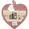 Manique de Cuisine Coeur Vichy rouge et fines Dentelles motifs Hansi