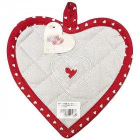 Manique de Cuisine Coeur brodé Coeur sur fond gris et bordure rouge