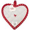 Küche Topflappen Herz bestickt Herz auf grauem hintergrund und roten Rand