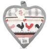 Manique de Cuisine Coeur décor Coq sur fond gris Vichy et bordure grise