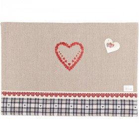 Tischset aus 100% Baumwolle bestickt Herz und Boden gingham Grau