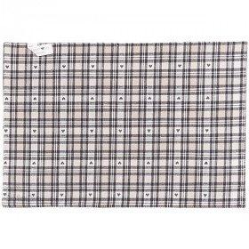 Tischset aus 100% Baumwolle bestickt Herz und Boden gingham Grau in La Boite
