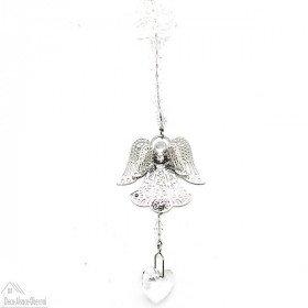 Engel Fensterdekoration mit Perlen und Kristallherz