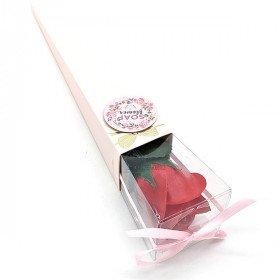 Bieten Sie eine Rote Rosa in Seifenblättern in La Boite aux Trésors in Obernai