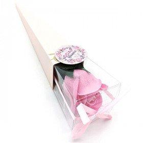 Bieten Sie eine Rosa Rosa in Seifenblättern