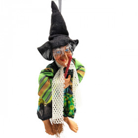 Witch of Alsace to hang with Broom and green fabrics 20 cm La Boite aux Trésors to Obernai